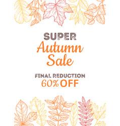 discount shop banner sale autumn poster super vector image