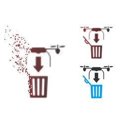 Dispersed pixel halftone drone drop trash icon vector