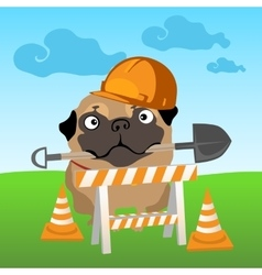 Dog builder on nature background vector