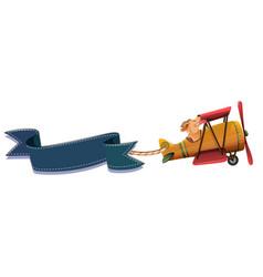 dog riding plane banner vector image