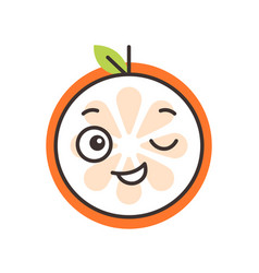 Emoji - winking orange with happy smile isolated vector