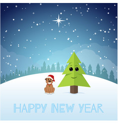 Funny puppy near the christmas tree new year vector