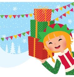 Girl Christmas elf with gifts vector image