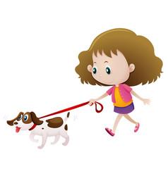 Girl walking dog alone vector