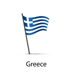 greece flag on pole infographic element on white vector image