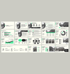 Green elements for slide presentations on a white vector