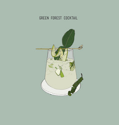 Green forest cocktail sketch vector