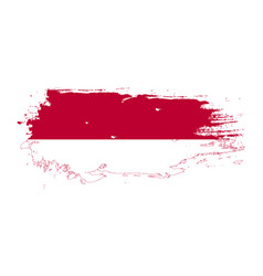 Grunge brush stroke with indonesia national flag vector