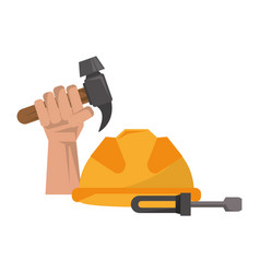 Hand holding tool hammer and helmet vector