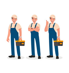 happy repairman or mechanic with a toolbox set vector image