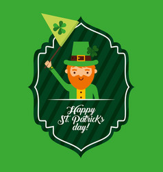 happy st patricks day green label leprechaun vector image