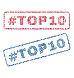 Hashtag top10 textile stamps vector