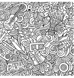 hippie hand drawn doodles seamless pattern hippy vector image
