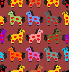 Horse toy seamless pattern Childrens equine dapple vector image