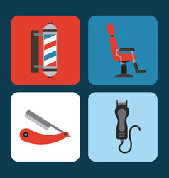 Icons set barber shop vector