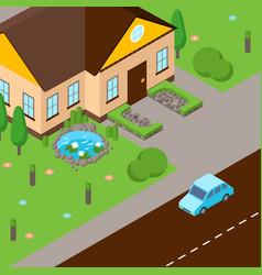 Isometric street scene house vector