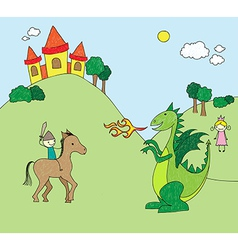 Kids drawing style dragon scene vector
