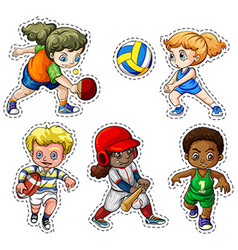 Kids playing different types of sports vector image