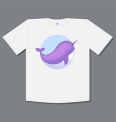 logo whale narwhal t shirt print vector image
