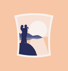 lovers on the beach hugging vector image