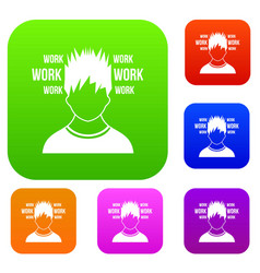 Man and work words set collection vector