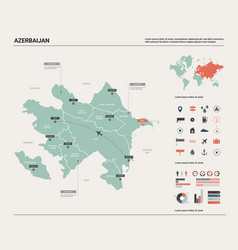 Map of azerbaijan high detailed country map with vector
