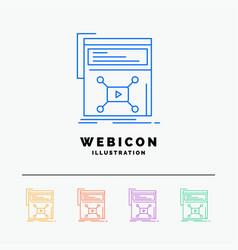 marketing page video web website 5 color line web vector image