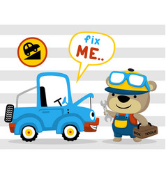 Mechanic cartoon with funny car on striped vector