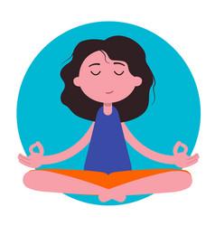 meditation woman beautiful young character vector image
