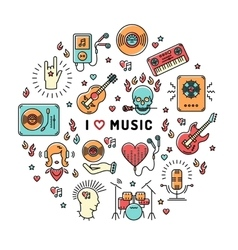 Music infographics line art icons inspiring quote vector image