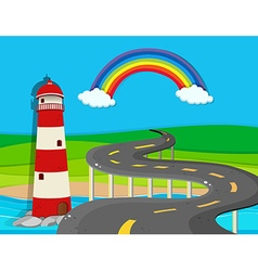 Nature scene with lighthouse and road vector