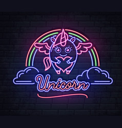 neon sign unicorn with rainbow vector image