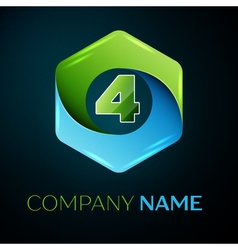 Number four logo symbol in the colorful hexagonal vector image