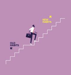 Old habits vs new habits-life change concept vector