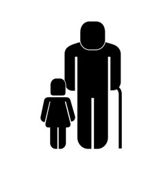 Old man with girl figure silhouette vector
