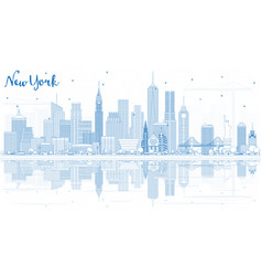 Outline new york usa city skyline with blue vector