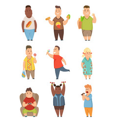 overweight boys and girls set cute chubby vector image