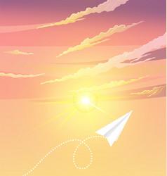 paper plane flying near sun aircraft flies next vector image