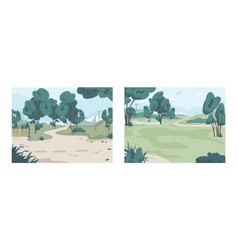 park summertime landscape green trees panorama vector image