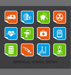Pharma and healthcare icons on stickers vector