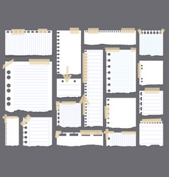 pieces of torn white blank lined note paper with vector image