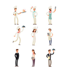 Professional chefs and restaurant staff happy vector