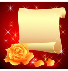 Rolled parchment and rose vector image