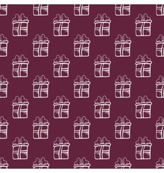 Seamless gift Pattern on burgundy color background vector
