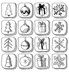Set of christmas sketch icons vector image