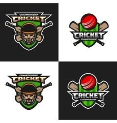 Set of cricket sports emblem vector