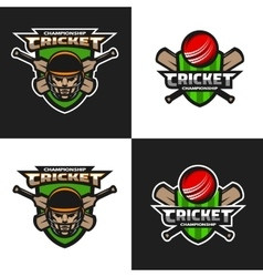 Set of cricket sports emblem vector image