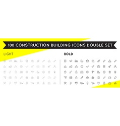 Set of Thin and Bold Construction Building Icons vector
