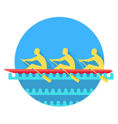 Sports rowing on canoe flat style icon vector
