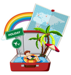 summer holiday on the suitcase vector image